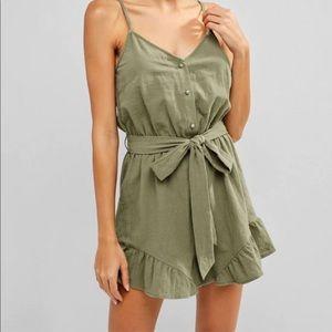 Olive Green Ladies Romper